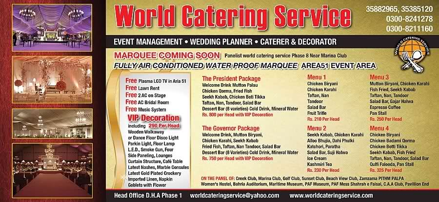 Per Head Catering Price Wedding Package