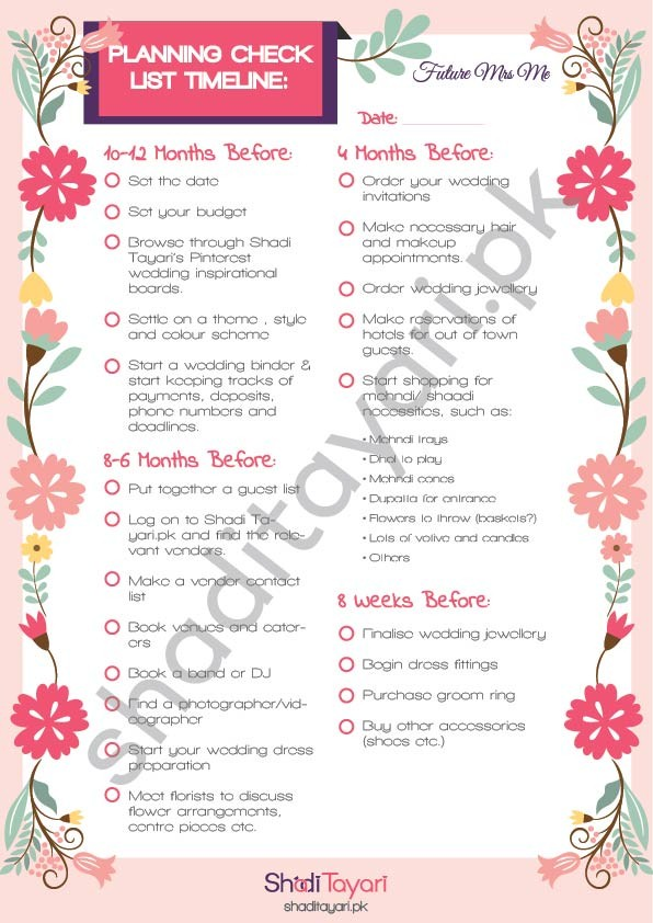 Wedding planning checklist shadi tayari pakistans wedding so bid farewell to your to do list catch up on the beauty sleep and still stay ahead of time through our extensive wedding planners available at our junglespirit Gallery